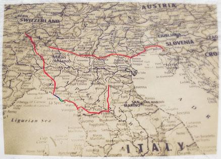 Itinéraire, Italie, voyage à vélo, Laetitia