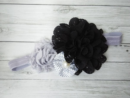 Grey & black toddler headband