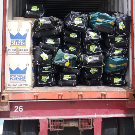 BARBADOS container arrives at Kensington Oval for temporary storage during Cricket Kindness BARBADOS 2019.