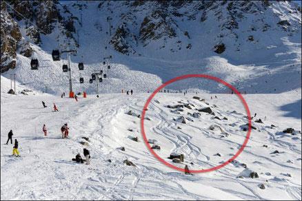L'intersection des pistes Mauduit et Biche où s'est produit l'accident de M.Schumacher