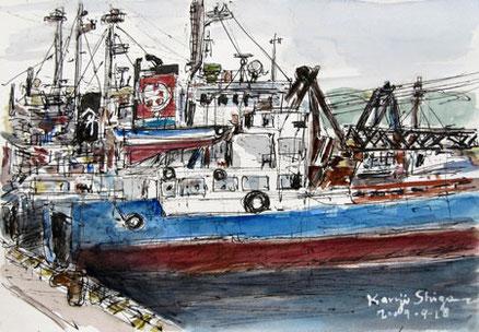 横須賀市・浦賀港に停泊しているガット船明力丸