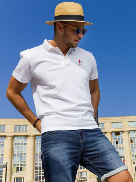 Polo Initial Blanc Homme Made in France 100% coton