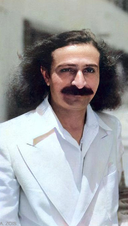 Meher Baba in Hollywood. Image has been trimmed & colourized by Anthony Zois.