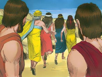 Dès l'aube du jour, les anges pressèrent Lot en disant: Lève-toi, prends ta femme et tes deux filles qui sont ici, afin que tu ne périsses pas dans le châtiment de la ville. Comme il tardait, ces hommes le prirent par la main, lui, sa femme et ses filles.