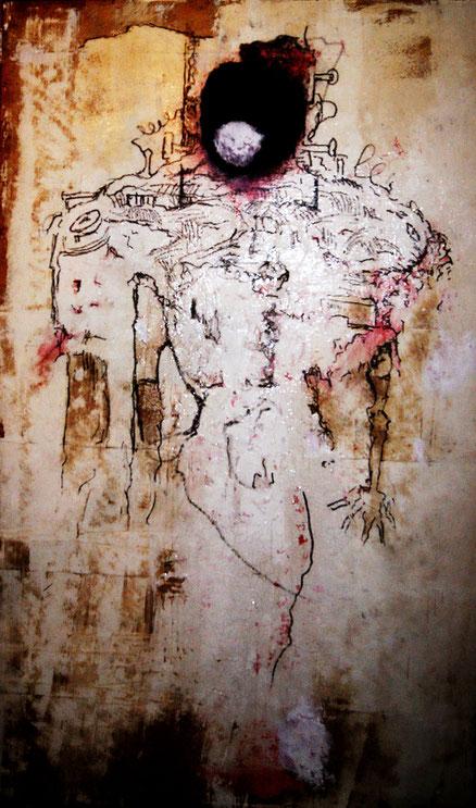 Der Neue Mensch, Mischtechnik auf Kork, 196x120, 2016 mit Alexander Heckert