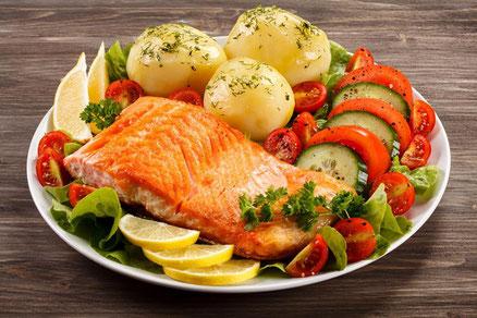 Plato de verdura con carne/pescado/huevo y patata/boniato