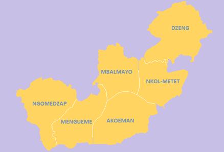 Carte administrative du Nyong et So'o depuis 2010