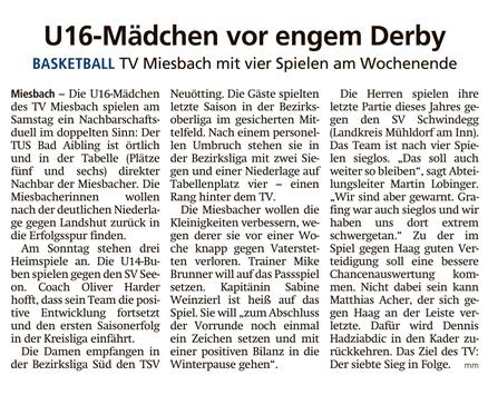 Artikel im Miesbacher Merkur am 7.12.2019 - Zum Vergrößern klicken