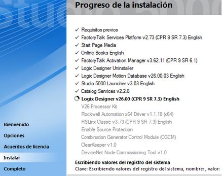 programas instalados en la suite Studio 5000 v26.00