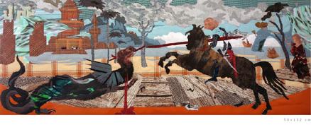 """Vittore Carpaccios Gemäldezyklus aus der Scuola di san Giorgio degli Schiavoni in Venedig als Stoffgemälde """"Der Heilige Georg kämpft mit dem Drachen"""" und der Stephanus Zyklus von Vittore Carpaccio"""
