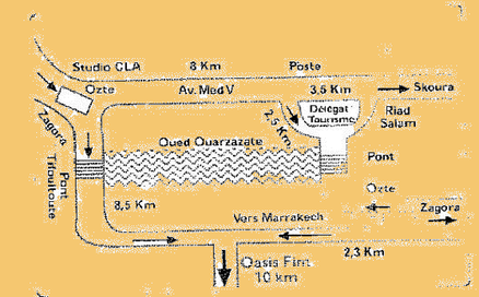 Plan accès oasis de fint à Ouarzazate