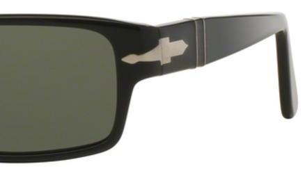 Occhiali da sole donna Persol Modello: 2747-S. Colore: 95/48 nero. Colore lenti: verde. Calibro 57-16. Forma: Rettangolare. Materiale: plastica. Protezione UV 100%