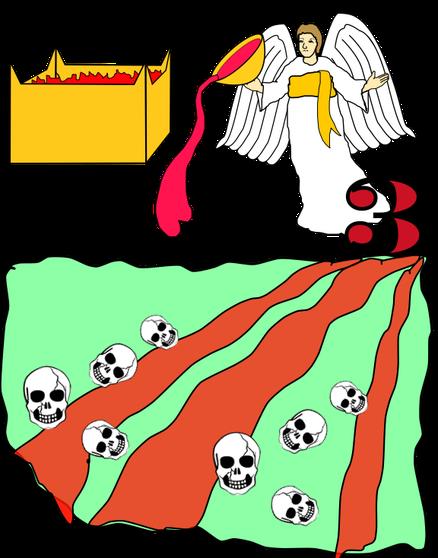 """Le 3ème ange verse la coupe d'or remplie de la colère de Jéhovah sur les fleuves et les sources d'eau qui deviennent du sang comme la mer touchée par le 2ème fléau. Jean entend de l'autel une voix: «Dieu tout-Puissant tes jugements sont vrais et justes."""""""