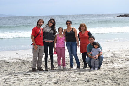 David y yo con Valentina, Paulina, Mamá Rosa, Yeyo y el bebé Gaspar