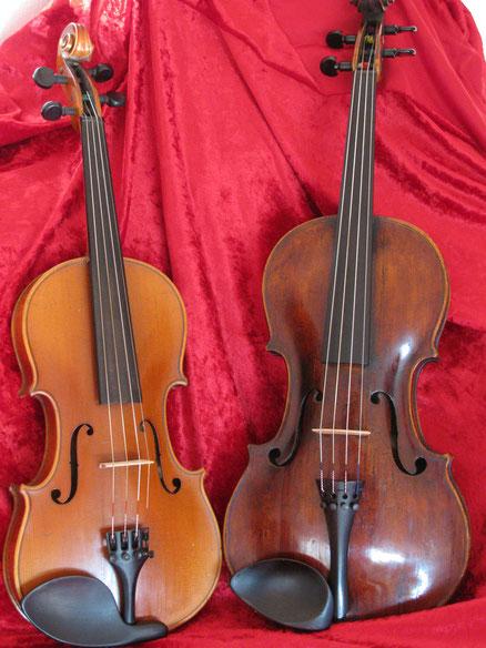 Die Violine (Links) und die größere Viola, auch Bratsche genannt (Rechts)