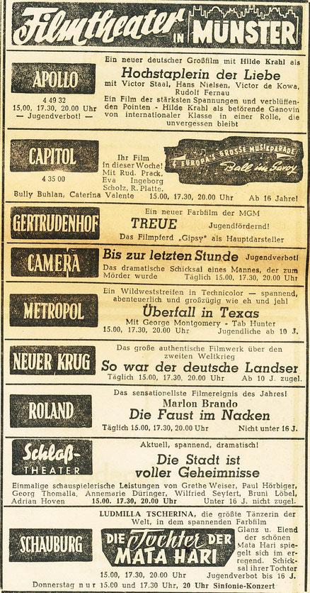 Filmprogramm um 1955