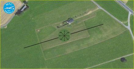 Start- und Landebahn mit Windrose