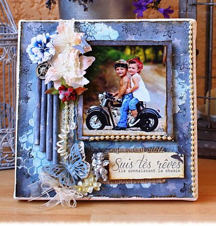 Cadre Tableau enfants sur moto tons bleux-L'Atelier de Natalie