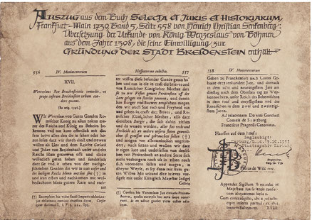 1398 - König Wenzel  verleiht Breidenstein die Stadtrechte