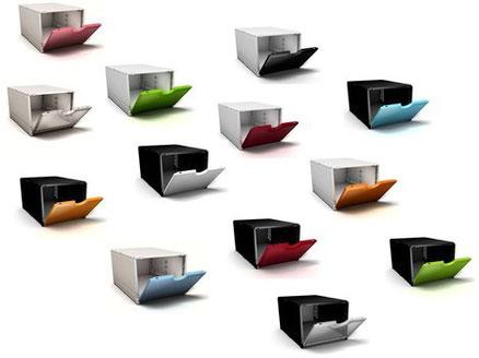 farbige Schuhboxen