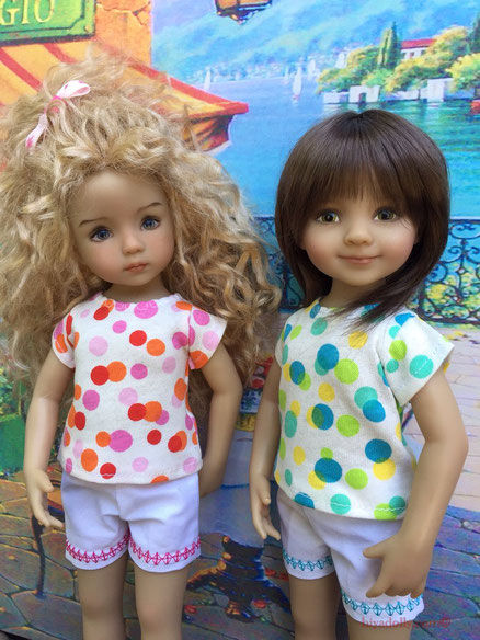 Dianna Effner's Little Darlings handpainted by Geri Uribe and Helen Skinner, clothes by Janice Mundy