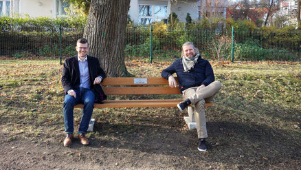 Lord Mayor, Dr. Daniel Schultheiß and Managing Director, Hans-Christian Fritsch (Ilmsens GmbH) at the handover of a sponsored bench