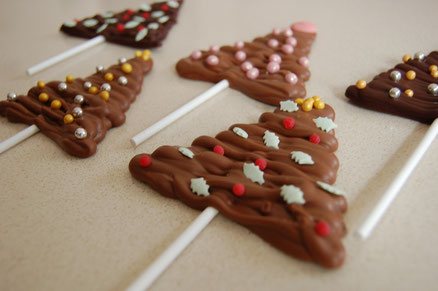 Chocolate lollies which will be made as part of the make your own chocolate advent calendar workshop, as a treat for Christmas day
