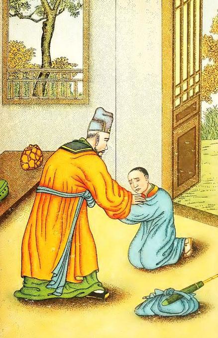Lieou King retrouve son père. Henri Doré : ... Superstitions en Chine. Troisième partie : Popularisation des trois religions. La doctrine du confucéisme (Jou-kiao). Variétés sinologiques n° 51, Zi-ka-wei, 1919.