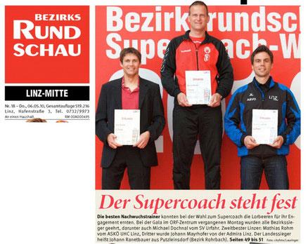 Floorballer Mathias Rohm 2. Platz bei der Wahl zum Supercoach 2010 - Nachwuchstrainer (links)