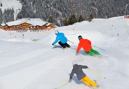 Skilauf auf der Fisser Nordseite, Zirbenhütte. Foto-Quelle: TVB Serfaus-Fiss-Ladis