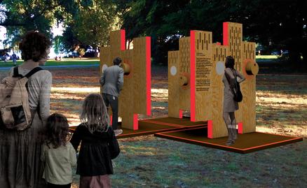«Facettenreich – Andere Geschichten» ist eine Wanderausstellung zum Thema Diskriminierung aufgrund Migrationsgeschichte. Visualisierung © Sonja Koch