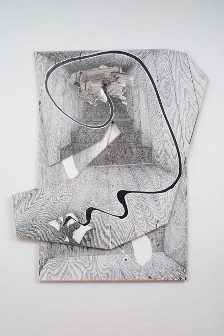 高石晃「vtx」, 117x100cm, インク・ジェッソ・板・金具, 2015