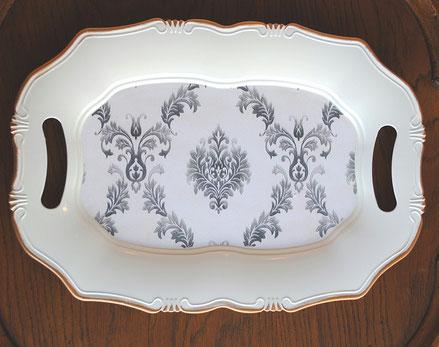 トレイ オシャレ トレー 38×27 ダマスク柄 クラシック お盆 オーバル 白 ホワイト 74212TY