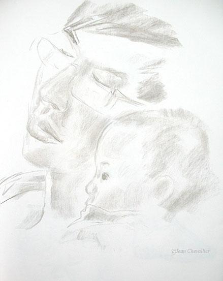 Père et fils, dessin Jean Chevallier