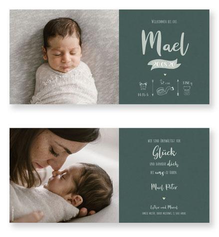 Geburtskarte mit Symbolen Geburtsanzeige kartendings Schweiz Babykarte Karte zur Geburt