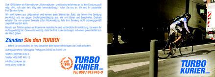 Faltblatt Flyer Turbo Kurierdienst