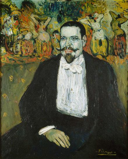 Pablo Picasso. Gustave Coquiot Paris 1901.Óleo sobre lienzo 100x81cm.Museo Nacional de Picaso, Paris. Para Picasso la utilización de la fotografía será esencial, Coquiot le hizo el prefacio de su exposición.