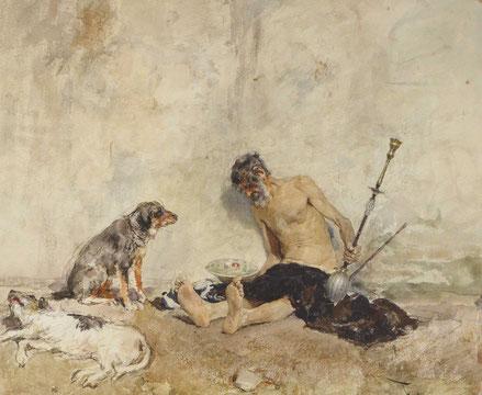 Amigos fieles 1869.Acuarela sobre papel,14x19cm.Baltimore Art Museum.El estudio de los canes fue campo de interés para el maestro y de la figura humana su textura de la piel,confirma su innegable sensibilidad para la acuarela.