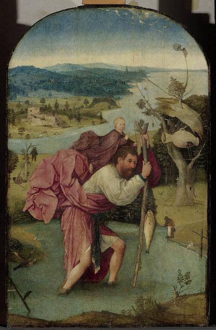 Óleo sobre tabla de roble,112x71cm.S.Cristóbal tras cruzar el río con sumo esfuerzo,cargó al Niño y sintió como si llevara el mundo a sus espaldas.El santo había estado buscando al hombre mas poderoso del mundo para servirle.El gigante antes llamado Ofero