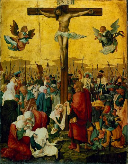 A. Altdorfer.La crucifixión 1518.Es el pintor más importante de la escuela del Danubio,suprimió el fondo paisajístico recurriendo a una composición mas tradicional y arcaizante.La simetria se rompe con el contrapunto de Juan que eleva la mirada a Cristo.