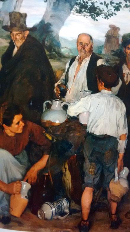 El reparto del vino de Zuloaga, Museo de Cau Ferrat, Sitges, repite el célebre asunto velazqueño, tras pasar por un periodo Nabi, se centra en la búsqueda de la pintura de caráctermas puro, sin contaminar por la civilización.