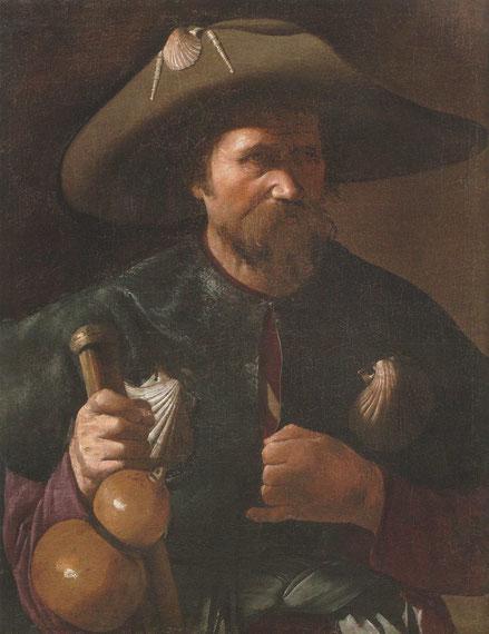 Santiago el Mayor.Francia.Coleccion particular. Asimilados a la perfección el concepto de Caravaggio,el apostolado de Albi, basado en los Evangelios y en la gente humilde, son la encarnación del hombre campesino de la época.