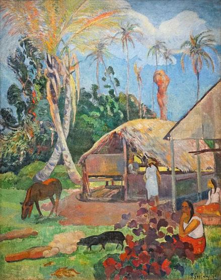Paul Gauguin.Los cerdos negros 1891.Abandona su trabajo de agente en bolsa y familia para huir a Martinica asqueado por la cicilización decadente.Este cuadro pertenece a su primer año en la isla, secillos y apacibles hogares,pincelada dinámica.