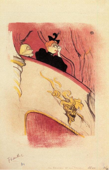 Toulouse Lautrec.El palco con mascarón dorado 1894.Litografía,37x32cm.The Metropolitan Museum of Art, Nueva York.