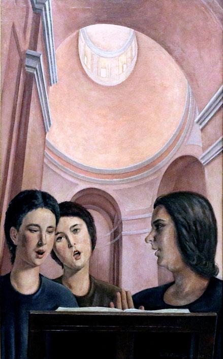 Gianfilippo Usellini.Coro a tre voci 1934. Museo Novecento Milan. Referncias arqitectónicas ranacentistas,figuras monumentales pintadas con una dimensión volumétrica.
