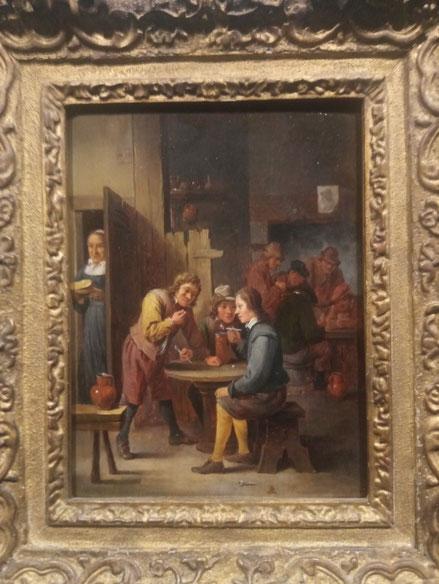 David Teniers el Joven.30x25cm.Campesinos en una taberna.1655-1660.Óleo sobre tabla.Colección privada.
