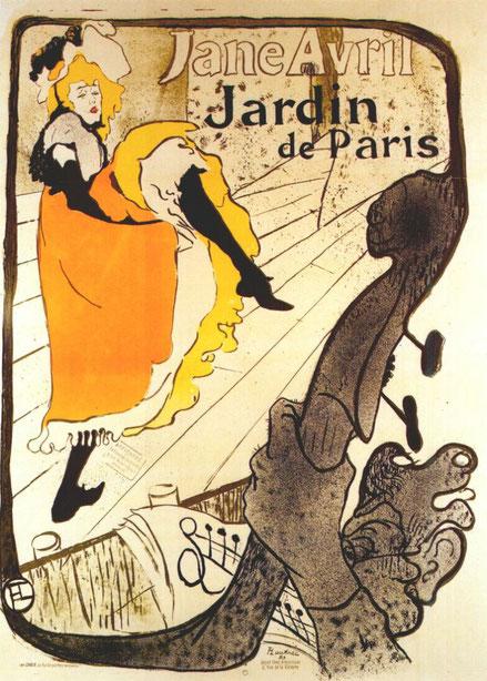 Toulouse Lautrec.Jane Avril au jardin de Paris 1893.Litografía en color.130x94cm.Victoria and Albert Museum.Londres..El circo, el mundo lúdico y los cabarets centraron la atención de Lautrec como ilustrador.