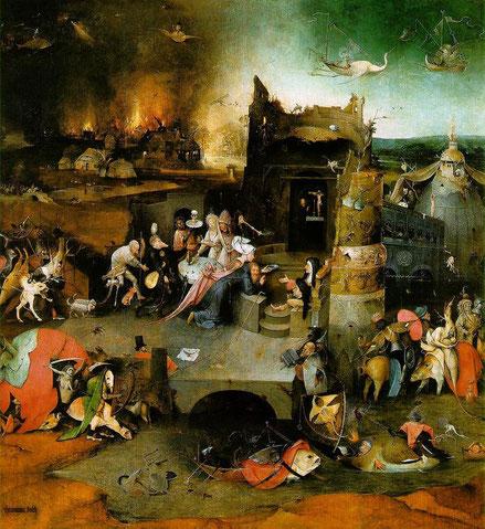 Con un paisaje aterrador de una ciudad en llamas, el santo ermitaño en el centro de la escena ajeno  a las fuerzas del mal que le acechan. Es el rechazo de la sociedad y todos sus vicios terrenales, un asunto muy querido por los humanistas del Alto  Rhin