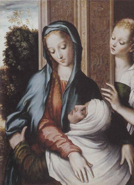 La Visitación.1562-67.Óleo sobre tabla.67x49cm,Eichenzell K.des Hauses Hessen.Obra inédita poco conocida en España, pertenece al mismo conjunto que la tabla de La Presentación en el Templo,para predela de retablo.