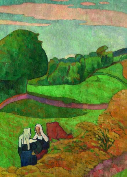 Émile Bernard. Paisaje con dos jóvenes bretonas y vaca 1892..Óleo sobre cartón montado sobre tabla 143x81cm.Triton Collection Foundation.